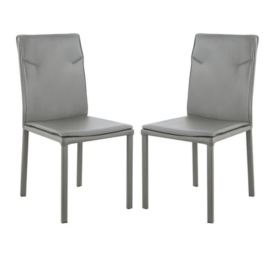 Maxwell Vegan Leather Chair in Grey (Set of 2)