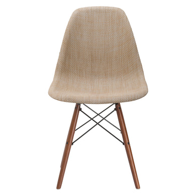Woven Vortex Dining Chair with Walnut Legs in Beige (Set of 10)