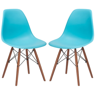 Vortex Side Chair Walnut Legs in Aqua (Set of 2)