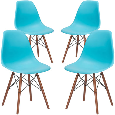 Vortex Side Chair Walnut Legs in Aqua (Set of 4)