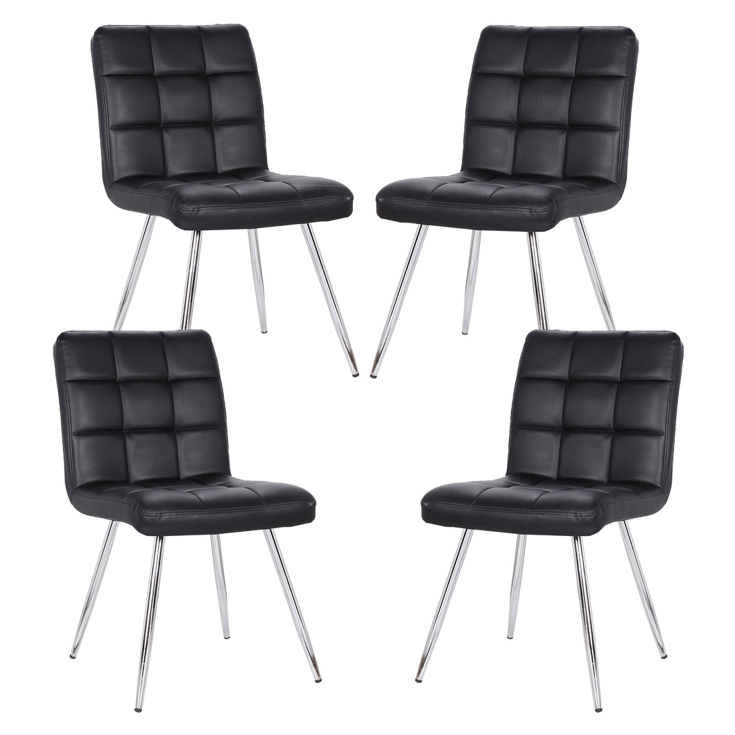 Petras Vegan Leather Chair in Black (Set of 4)