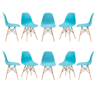 Vortex Side Chair in Aqua (Set of 10)