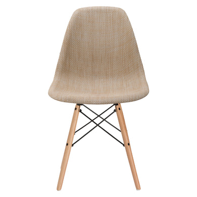Woven Vortex Dining Chair with Natural Legs in Beige (Set of 10)