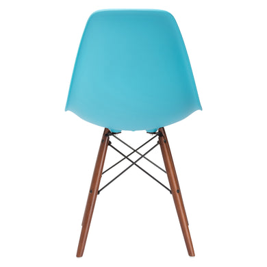 Vortex Side Chair Walnut Legs in Aqua