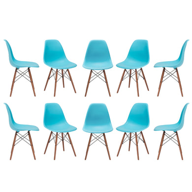 Vortex Side Chair Walnut Legs in Aqua (Set of 10)