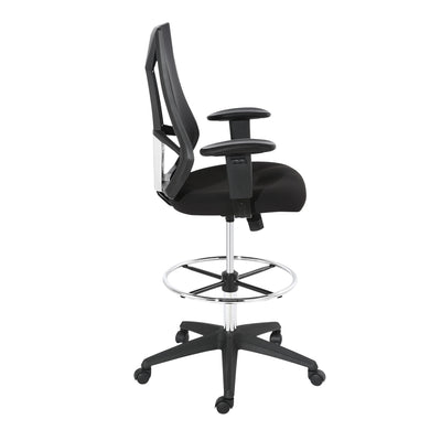 Benicia Drafting Chair in Soft-Touch Fabric, Black