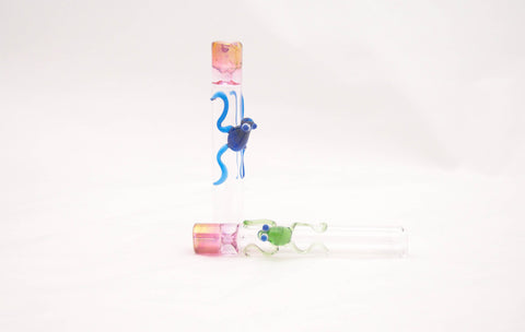 "3.5"" Tobacco pipe glass with frog"
