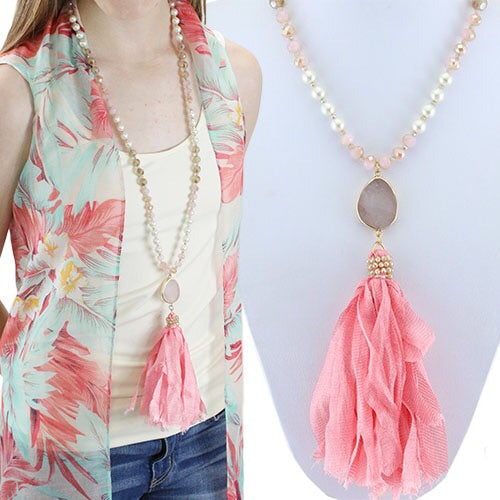 Pink Crystal Necklace With Tassel