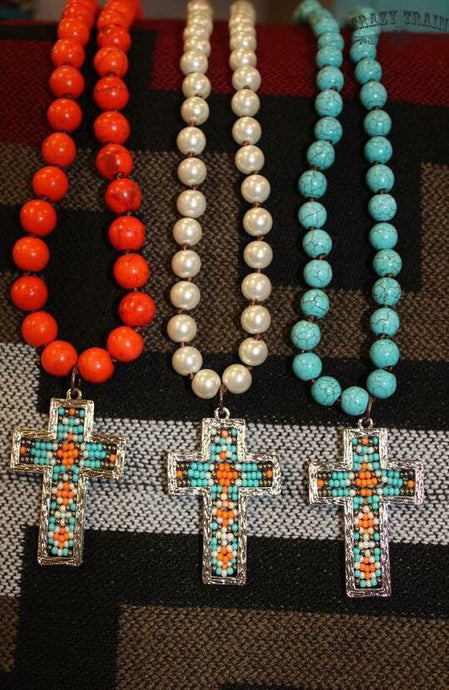 Crazy Train Beaded Cross Necklace