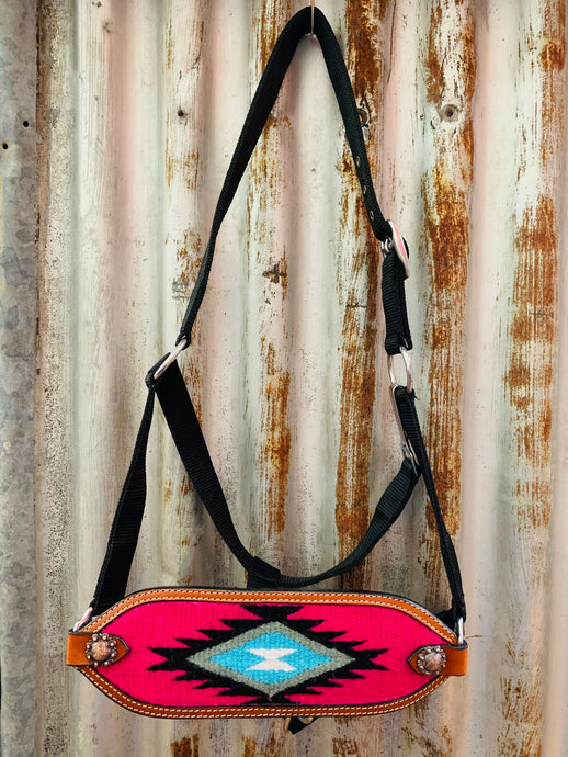 Aztec Saddle Blanket Bronc Halter - Hot Pink