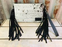 Montana West Hair On Leather Fringe Clutch - White