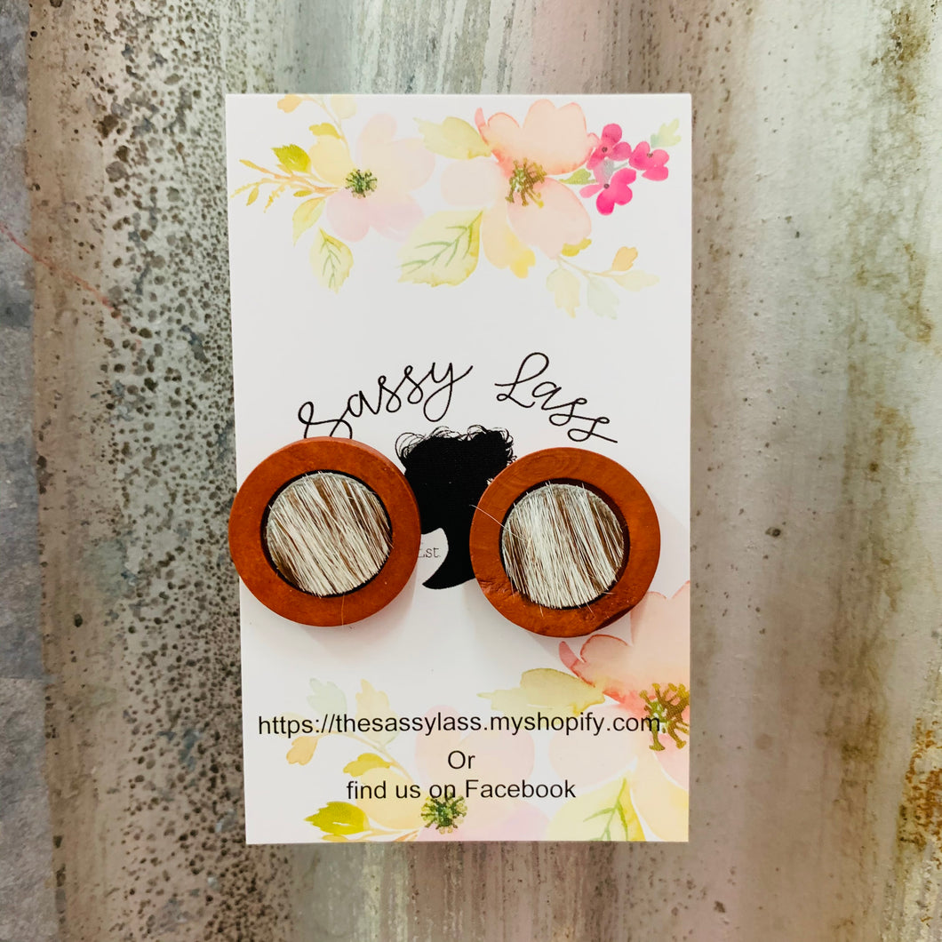 Large Wood & Cowhide Earrings
