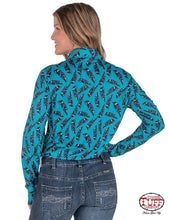 Cowgirl Tuff Arena Shirt - Turquoise & Purple Feather Print