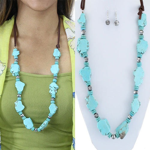 Squash Necklace & Earring Set -Turquoise & Silver