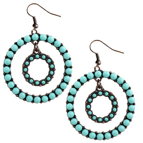 Turquoise & Copper Circle Earrings