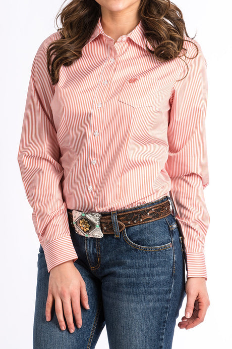 Cinch Womens Coral & White Stripe Arena Shirt