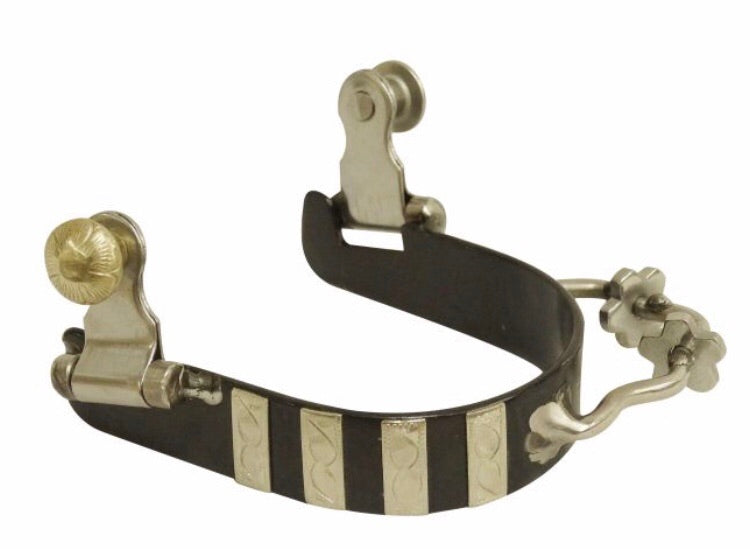 Bumper Spurs With Rowels & Silver Striped Overlay