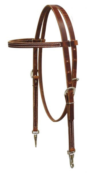 Browband Harness Leather Headstall With Snaps