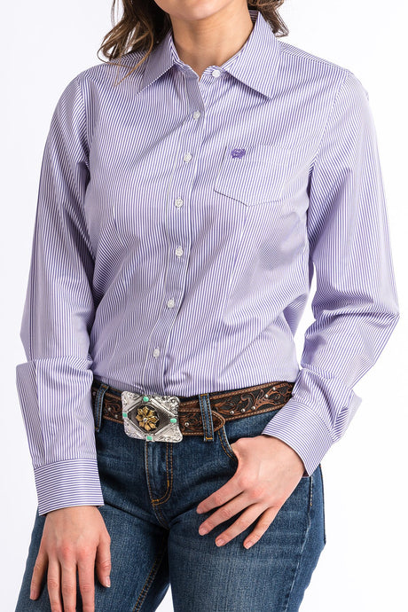 Cinch Womens Purple & White Stripe Arena Shirt