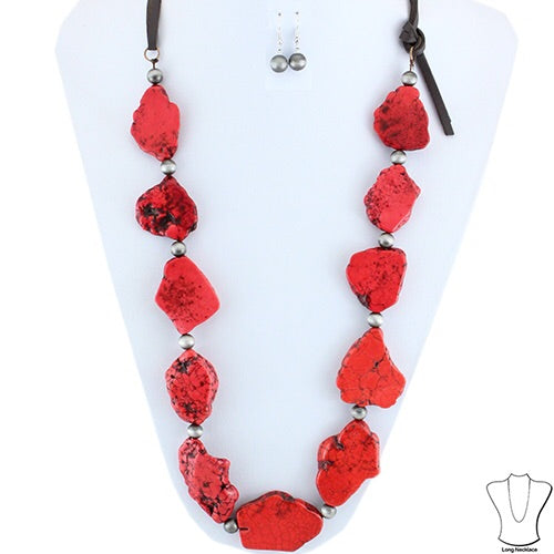 Stone Necklace & Earring Set With Leather Straps - Red