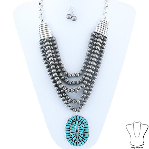 Layer Squash Blossom Necklace And Earring Set - Turquoise