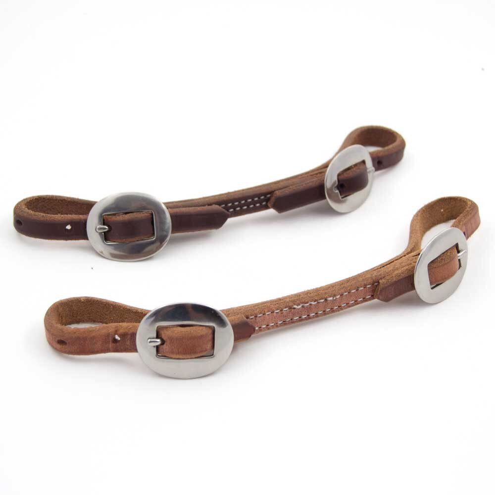Flat Leather Curb Strap With Stainless Steel Buckles