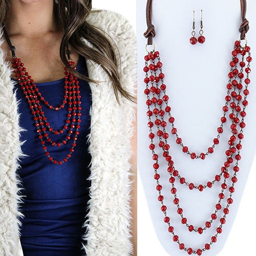 Beaded Layered Necklace & Earring Set - Red