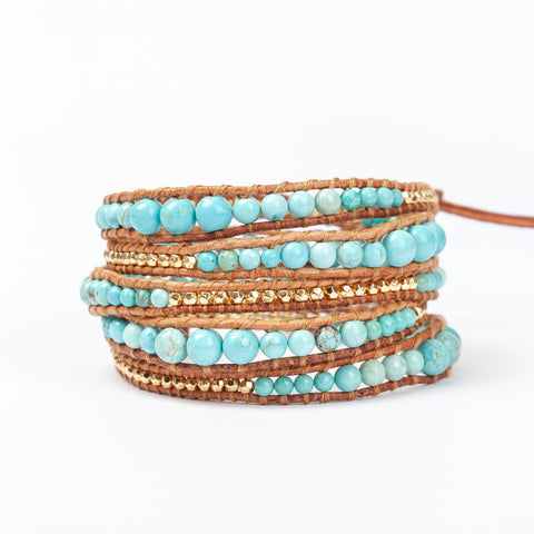 Graduated Gold and Turquoise 5 wrap