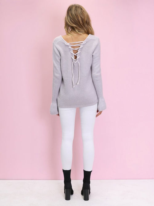Vienna Bell Sleeve Knit - Dusty Liac