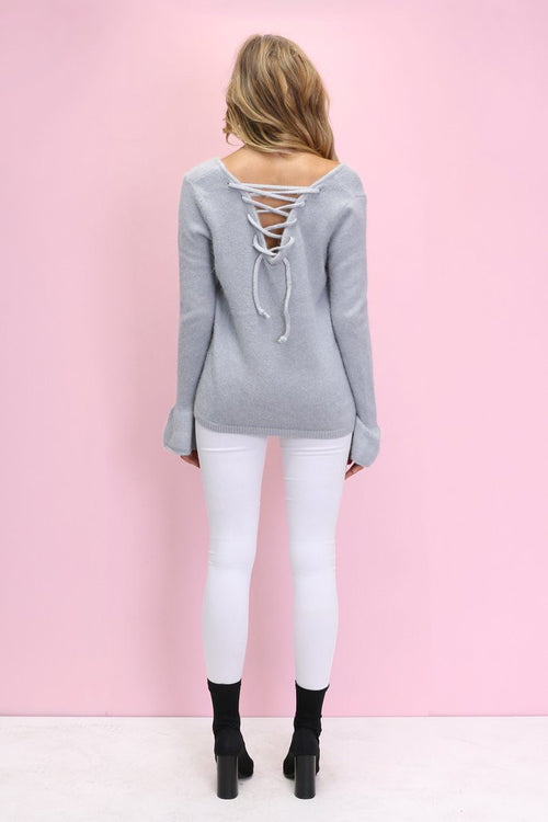 Vienna Bell Sleeve Knit - Dusty Grey