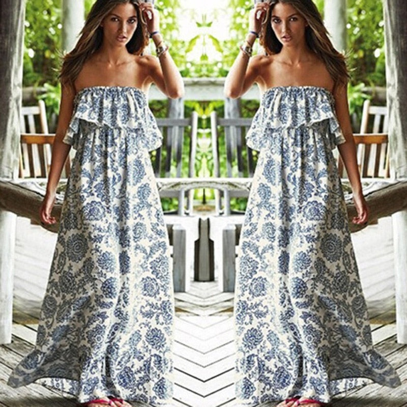 Off Shoulder Strapless Boho Long Maxi Evening Party Beach Dress