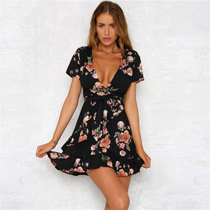 Sexy Deep V-neck Flower Bohemian Style Dress