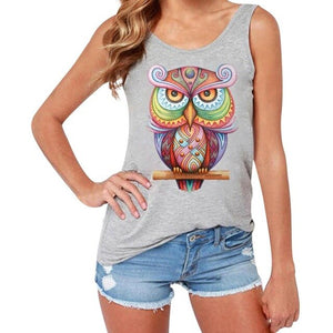 Owl Printed Sleeveless Shirt Blouse