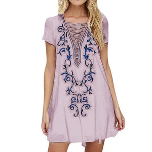 Bandage Embroidered Hippie Loose Casual Mini Dress