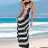Asymmetrical CasualSleeveless Stripes Loose Long Dress
