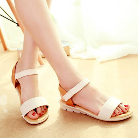 Sweet Basic Adhesive And Comfortable Flat Soft PU Leather Sandals