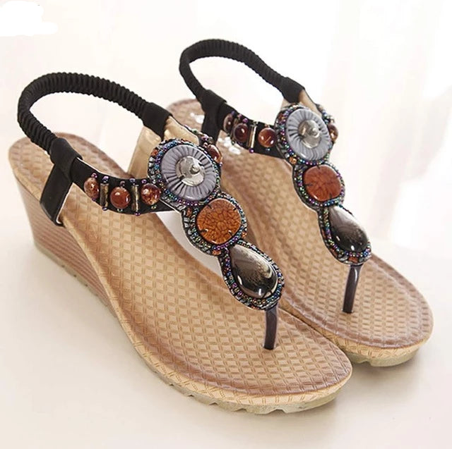 Bohemian national slope hand beaded sandals