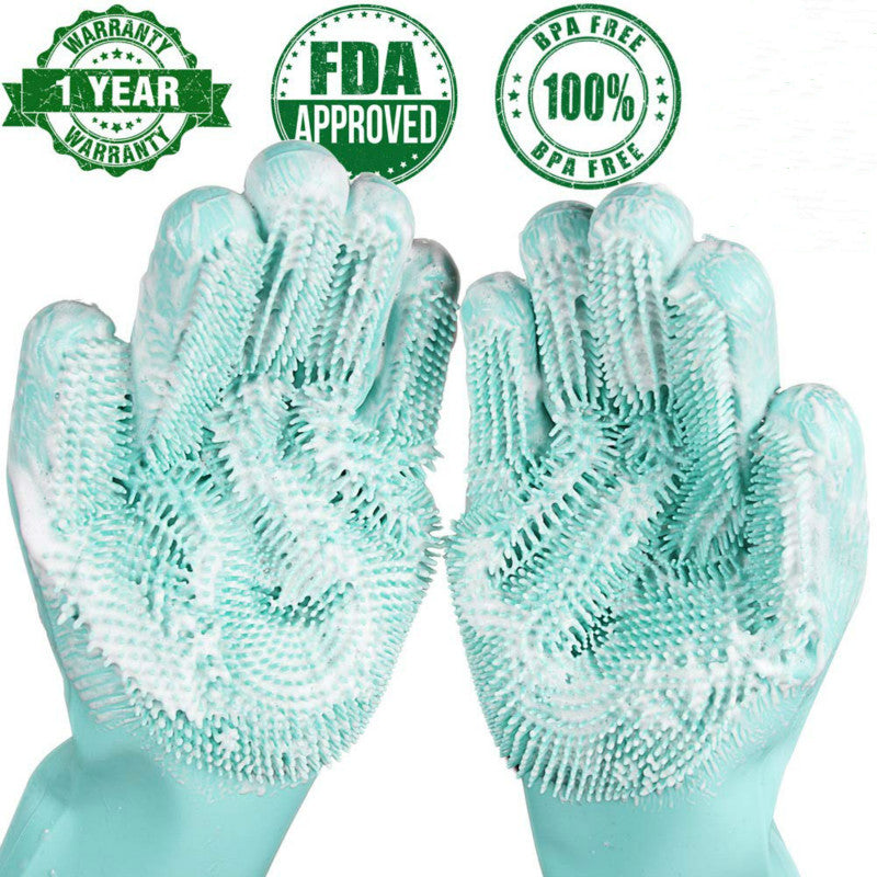 Magic Silicone Dish Washing Gloves For Household 🧤👩🏼‍🍳