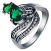 Hot Luxury Design Green Blue Stone New black Ring