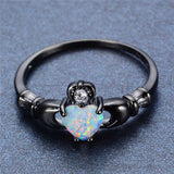 Elegant Heart Cut Rainbow Opal Claddagh Ring