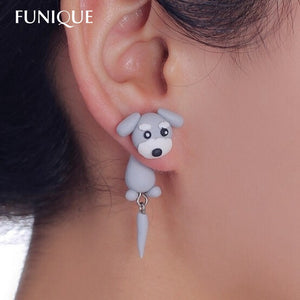 Handmade Cute Lovely Schnauzer Dog With tail polymer Clay Stud Earrings