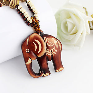 Boho Ethnic Long Hand Made Bead Wood Elephant Pendant Necklace