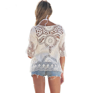 White Sexy Lace Crochet Boho Casual Blouse