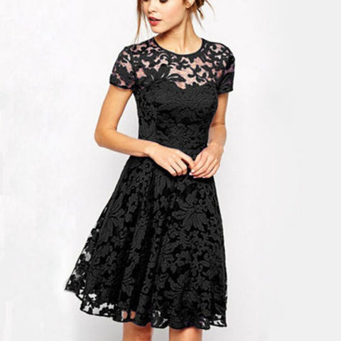 Floral Lace Short Sleeve Party Casual Mini Dress