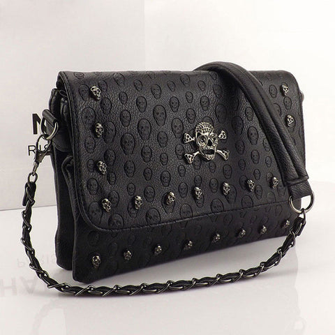 Vintage Skull Rivet Envelope Mini Clutch Bag