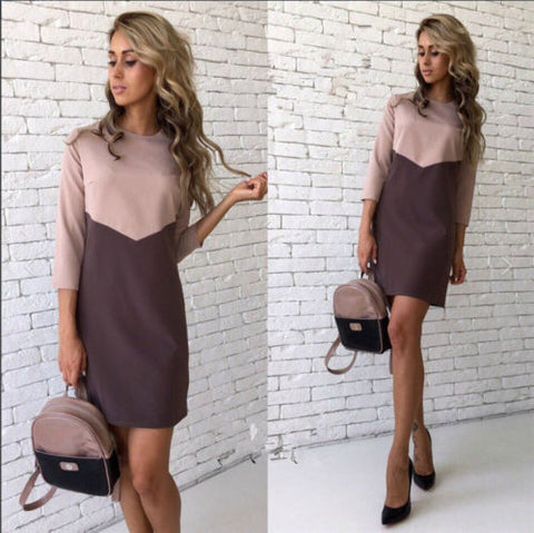 Sexy Casual Patchwork O-Neck Three Quarter Sleeve Bodycon Dress