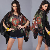 Chic Sleeve Chiffon Casual Floral Blouse