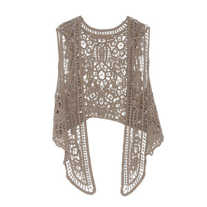 Asymmetric Open Stitch Boho Hippie Blouse