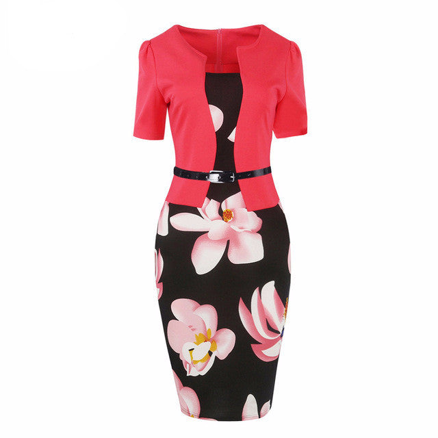 One Piece Patchwork Floral Print Elegant Business Casual Work Dress