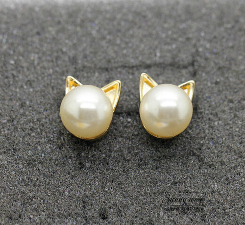 Cute Imitation Pearl Cat Head Studs Earrings